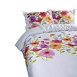 Aminata Kids - Kinder-Bettwäsche-Set 135-x-200 cm Blume-n-Motiv Wiese-n-Muster 100-% Baumwolle Renforce bunt-e Weiss-e