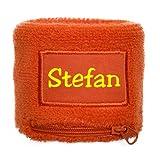 Schweißband mit Namen Aufdruck - Frottee -Armband mit eigenem Namen oder Text bedrucken lassen- Sweatbands mit Namen - Schweissarmband mit Reissverschlusstasche personalisieren