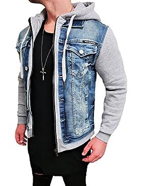 Cazadora Jeans Denim Jeans Chaqueta con capucha chaqueta sudadera para hombre gris Black Biker Motorrad Designer...