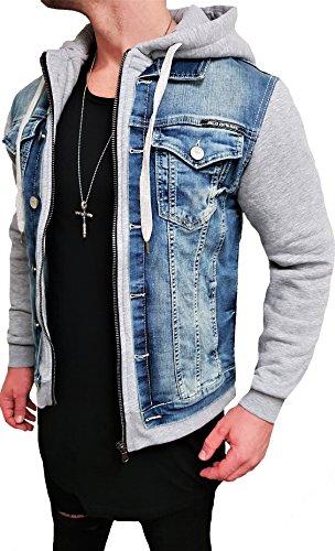 Cazadora vaquera con capucha, chaqueta con capucha, capucha, chaqueta de verano para hombre, verano, gris, negra, motero, moto, chaqueta de diseño, sudadera, hombre, cuero, aviador, reversible, chaqueta, negra, pantalón corte slim gris 2XL