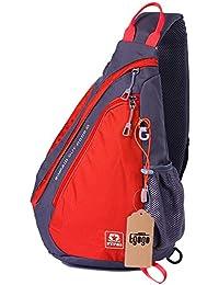 EGOGO multifunción mochila bandolera cruzada cuerpo bolso hombro para ciclismo senderismo escuela bolsas (Rojo)