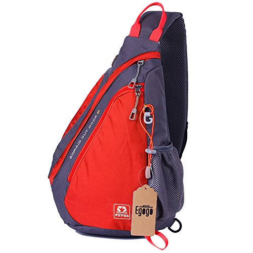 EGOGO Multifunktions Sling Pack Bag Rucksack Cross Body Umhängetasche Schultertasche Fahrradrucksäcke (Rot) (Rucksack Herren Rot)