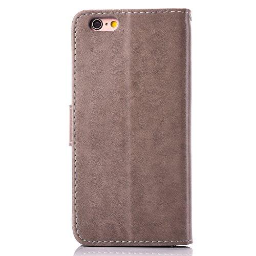 EUWLY Portafoglio Cover per iPhone 6/iPhone 6s (4.7), Retro Luxury Pure Color Flip Case Cover per iPhone 6/iPhone 6s (4.7) in Pelle PU Custodia Cover [Shock-Absorption] Protettiva Portafoglio Cover  Fiore Foglie,Grigio