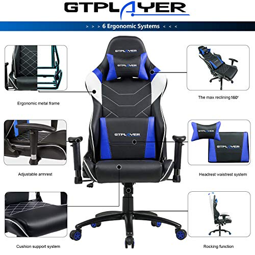 GTPLAYER Chaise Gaming de Bureau Fauteuil de Bureau Chaise Gamer Music avec Haut-Parleur Bluetooth, Design Ergonomique Bleu 6