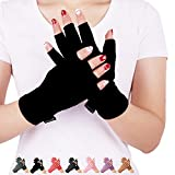 DISUPPO Arthritis Gloves Women and Men Relieve Pain from Rheumatoid, RSI,Carpal Tunnel, Compression Gloves Fingerless for Computer Typing, Dailywork, Hands And Joints pain relief (Pure Black, Small)