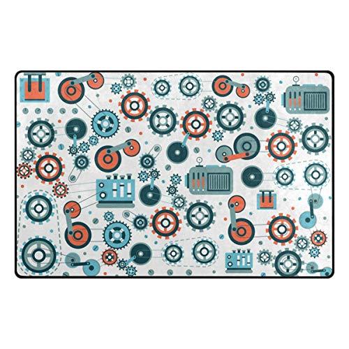 MALPLENA - Tapete mecánico para entrada de ejes de ingeniería, tapete para puerta, tapete para piso, rasqueta para sala de estar, comedor, dormitorio, cocina antideslizante, poliéster, 1, 60 x 39 inch