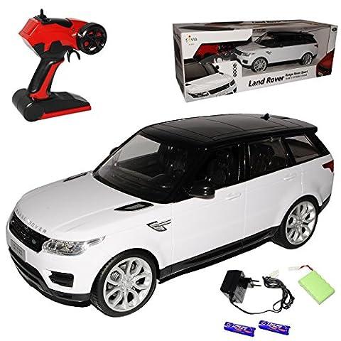 Land Rover Range Rover Sport 2. Generation Weiss Ab 2013 - Komplettset mit Akku - 2,4 GHz RC Funkauto - mit Beleuchtung - sofort startklar - 1/14 Modellcarsonline Modell Auto