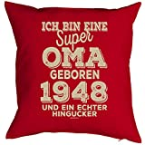 Oma Sprüche-Kissen zum 70 Geburtstag - Geschenk-Idee Dekokissen Jahrgang 1948 : ...super Oma geboren 1948 -- Geburtstag 70 Kissenbezug ohne Füllung - Farbe: rot