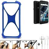 K-S-Trade Bumper für Archos 55 Graphite Schutzhülle Handyhülle Silikon Schutz Hülle Cover Case Silikoncase Silikonbumper TPU Softcase Smartphone, Blau (1x), Headphones