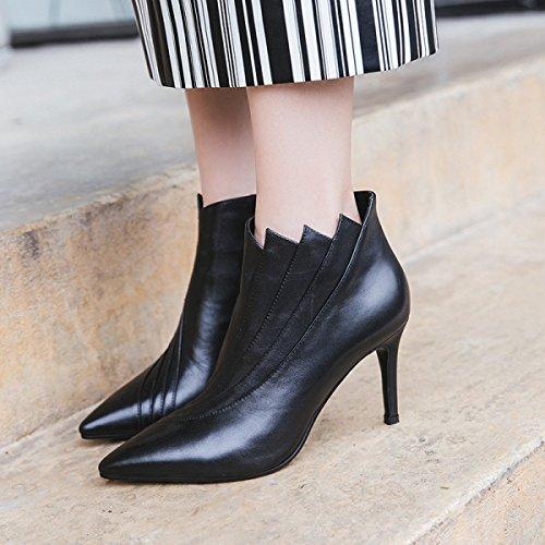 Gtyw Dames Bottes À Talons Bottes Femmes Bottes Femmes Bout Pointu Avec Talon Et Hiver Nouveau Beaux Chaussures En Cuir Avec Zip Bottes Latérales Noircashmere