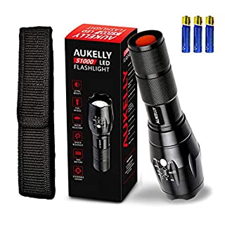 AUKELLY LED Torch Flashlight Tactical Flashlights LED Torch With Pouch 5 Modes Tactical Torch Waterproof Led Handheld Flashlight Super Bright 1000 Lumens for Camping Cycling Hiking in Zoom Function,with Pouch