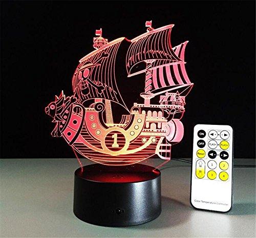 DREAM LAMP Thanksgiving Weihnachten 7 Farbe Christmas Bell 3D LED Touch/Fernbedienung Nacht Licht Optical Illusion Licht Licht Tisch Lampe Zimmer Dekor , B (Kleidung Illusion Blau)