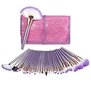 32 Set Pinceaux Maquillage Professionnel USpicy & Pochette de Voyage Haut de Gamme, Fibres Synthétiques Souples, Makeup Brushes Complet Soyeux et Facile pour Tous Types de Maquillage, Cadeau - Violet