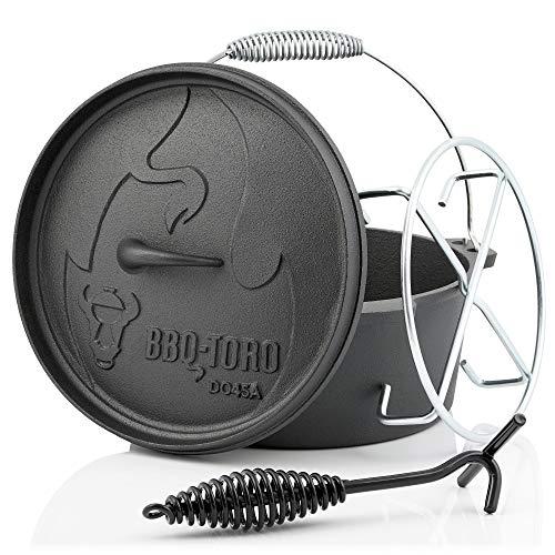 BBQ-Toro Dutch Oven Alpha Serie I bereits eingebrannt - preseasoned I Verschiedene Größen I Gusseisen Kochtopf I Bräter mit Deckelheber (DO45A - 3,1 Liter, Topf ohne Füße)