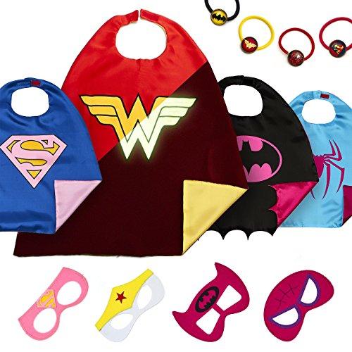 Imagen de laegendary disfraces de superhéroes para niños  regalos de cumpleaños para niños  4 capas y máscaras  logo brillante de wonder woman  juguetes para niñas