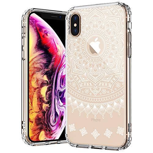 MOSNOVO iPhone XS Hülle/iPhone X Hülle, Henna Mandala Lace Klar Entwurf Drucken TPU Bumper mit Hart Plastik transparent Handyhülle Schutzhülle für iPhone X/iPhone XS (Henna Mandala)