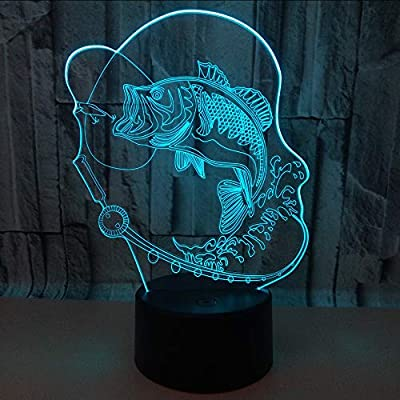 Mddjj 7 Color Change 3D Led Fish Night Light USB Desk Lamp for Kids Bedroom Bedside Lighting Decor Carp Fishing Lighting Amazing Gifts Bedroom Lights by Mddjj