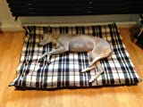 KosiPet® CREAM & BROWN CHECK Fleece LARGE SPARE COVER For Dog Bed,Dog Beds,Pet Bed,Dogbed,Dogbeds,Petbed,Petbeds,