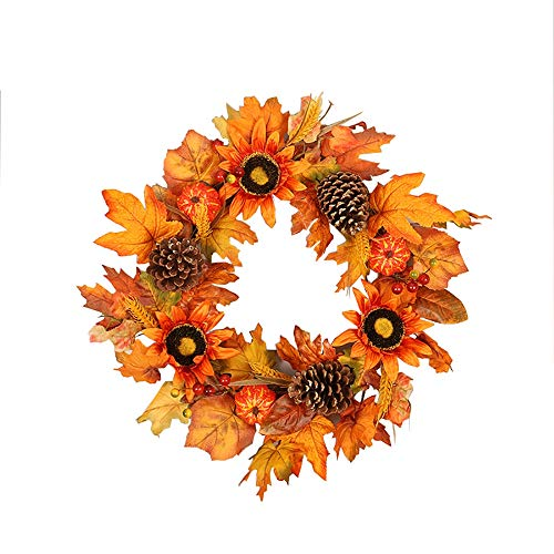 NQXXN Künstliche Sonnenblume Kranz, Kürbis Ahornblatt Thanksgiving Halloween Kranz, Herbst Kranz für Haustür/Wand/Festival/Home Decor (18 Zoll)