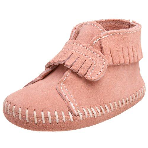 Minnetonka Velcro Front Strap Bootie, Baby Mädchen Krabbelschuhe, Pink (Hot Pink / PINK), 17/18 EU (Bootie Strap Front)