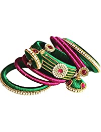 Green And Pink Color Silk Thread Bangles And Earrings