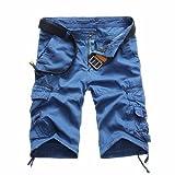 Herren Männer Casual Pocket Beach Work Casual Kurze Hosen Hosen Hose (Blue, 38)