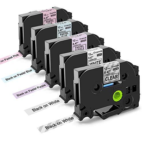5x TZe Tape 12mm 0.47 Inch Compatibile Brother TZe-231 TZe-131 TZe-MQF31 TZe-MQ531 TZe-MQE31, per Brother P-touch PT-H110 PT-H100R PT-1005 PT-1010 PT-1830VP PT-2030, 12mm x 8m