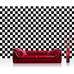 Fototapete 368x254 cm PREMIUM Wand Foto Tapete Wand Bild Papiertapete - Sonstiges Tapete Abstraktion Design Modern Mosaik Geometrie Schachbrett schwarz weiß