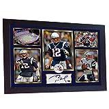 SGH SERVICES Foto mit Autogramm, gerahmt, Tom Brady New England Patriots NFL Autogramm, American Football, vorgedruckt, gerahmt