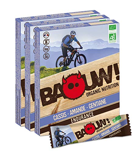 Baouw! Organic Nutrition – CASSIS AMANDE GENTIANE - Barres nutritionnelles & énergétiques 100% bio pour le sport ou un encas sain - vegan - sans gluten - crues - 12 barres x 30g