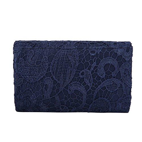 Kisschic Damen Elegant Spitze Umschlag Clutches Abendtasche Party Hochzeit Handtaschen Blau