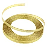 #7: Imported 25 Yards Dacron Satin Ribbon Wedding Party Decoration Bow Craft DIY 6mm-Gold