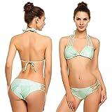 Bikini Damen Badeanzug Neckholder Swimsuit Fashion Schwimmanzug Sexy Bademode Schalen Schlankheits Badeanzug Hellgrün S