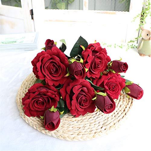 Xin Pang Simulation Rose Fake Flower Set Home Wohnzimmer Innen Getrocknet Blumenstrauß Dekoration Blumen Dekoration, Crimson (5 PCS) -