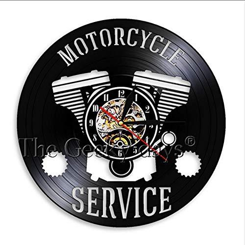b Vintage Schallplatte Wandkunst Uhr Motorrad Service Bike Shop Motorrad Hand Ritter Zimmer Art Deco Uhr Raumdekoration ()
