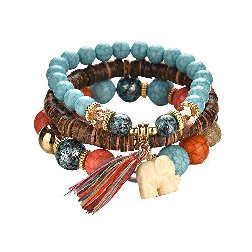 Bohemian Ethnic Style Multilayer Fransen Perlen Armband, Vintage Hand gewebt Elefant Armband, 3-teilige Legierung schönes Zubehör, wunderbares Geschenk für Sie und Ihre Freunde Familie (Silber)
