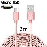 TheSmartGuard Micro-USB Kabel auf USB 2.0 | Nylon Ladekabel mit Micro-USB-Anschluss | Länge: 3 Meter/3m | Farbe: Rose-Gold