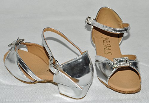 girls silver ballroom dance shoes size 5 carly adjustable front diamonte