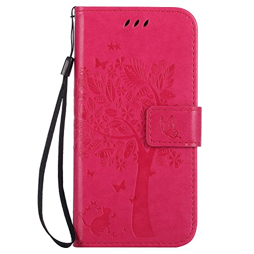 HTC One M9 Hülle Rose Red im Retro Wallet Design,Cozy Hut HTC One M9 Hülle Leadertasche Premium Lederhülle Flip Case im Bookstyle Folio Cover Kartenfächer Magnetverschluss und Standfunktion Leder Schale Etui für HTC One M9 (5 Zoll) Handytasche Schutzhülle Katzen und Bäume Muster - Rose Red