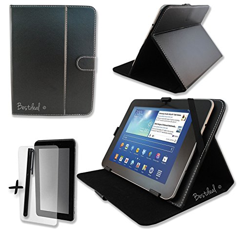 Schwarz PU Leder Cover Case Protector & Ständer für Schenker ELEMENT 25,7cm Zoll Tablet PC + Displayschutzfolie und Eingabestift