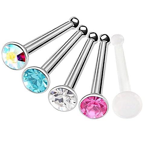 5 Stück nasenpiercing stecker chirurgenstahl 20g piercing nase set nasenstecker Nasen Piercing edelstahl BFGR - CL AB RO AQ