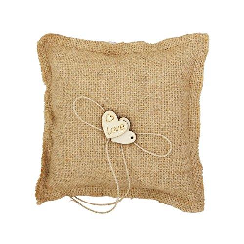 Luoem fede nuziale cuscino nuziale cuore in legno anello portatore cuscino per cerimonia di nozze per matrimoni forniture regalo 18x18cm