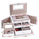 Songmics-JBC121W-Caja-de-almacenamiento-para-la-joyera-26-x-18-x-17-cm-color-blanco-y-marrn