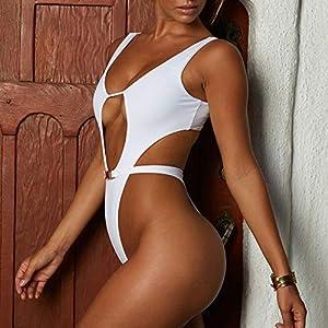 Bikini Donna Brasiliana Stampa Leopardo V-Collo Pezzo Costumi da Bagno Donna Bikini Retro Sexy Body Costume Bandage Halter Triangolo Mare e Piscina Beachwear Sportswear Monokini (Bianca&, XL)