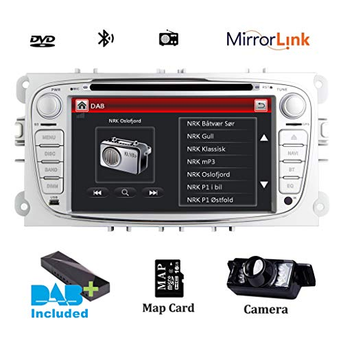 17,8 cm(7 Zoll)HD Digitaler kapazitiver Touchscreen Dual CANbus Auto Stereo DAB+ Radio RDS Bluetooth CD DVD Player GPS Bildschirm Mirroring für Ford Focus Mondeo Galaxy S-Max C-Max Kuga SWC Subwoofer (Ford Cd-player)