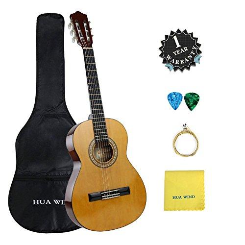 E-starter-gitarre (3/4 Größe Konzertgitarre,36 Zoll 6 Nylon Saiten Akustik Gitarre Kinder Starter Set mit Plektrum, Tasche, Saiten und Putztuch)