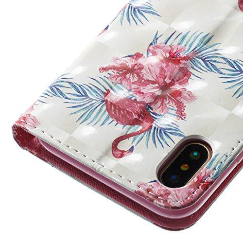 Funyye Custodia Per iPhone X 5.8 Cover Pelle Portafoglio Libro Copertura con [Gratis Pellicola Protettiva] Supporto Stand Porta Carte Chiusura Magnetica protettivo Caso Per Apple iPhone X 5.8 Flip W Fiore di Flamingo