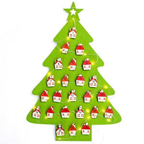 Takefuns dell' avvento a forma di albero con luci led ornamenti natalizi da appendere alla parete calendari xmas gift for christmas decorations, panno, green, verde