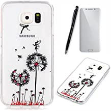 Lotuslnn Samsung Galaxy S7 edge Coque,[trois pissenlit] Épais mais léger TPU Silicone Case Cover Transparent pour Samsung Galaxy S7 edge (Etui+ Stylus Pen + Tempered Glass Protective Film)