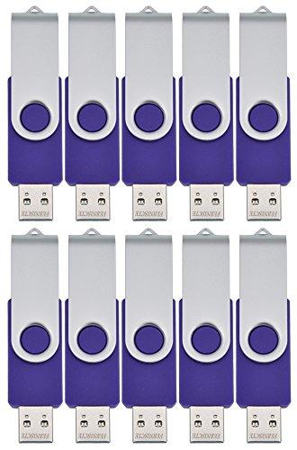 FEBNISCTE Multi-pack 10 Stück Lila 256MB (Nicht 256GB) USB 2.0 Stick